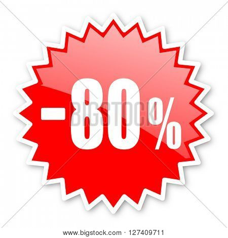 80 percent sale retail red tag, sticker, label, star, stamp, banner, advertising, badge, emblem, web icon