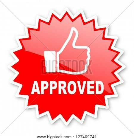 approved red tag, sticker, label, star, stamp, banner, advertising, badge, emblem, web icon