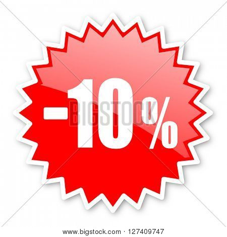 10 percent sale retail red tag, sticker, label, star, stamp, banner, advertising, badge, emblem, web icon