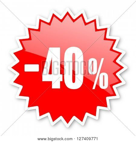 40 percent sale retail red tag, sticker, label, star, stamp, banner, advertising, badge, emblem, web icon
