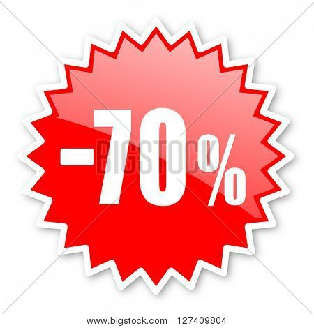 70 percent sale retail red tag, sticker, label, star, stamp, banner, advertising, badge, emblem, web icon