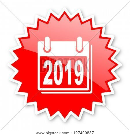 new year 2019 red tag, sticker, label, star, stamp, banner, advertising, badge, emblem, web icon