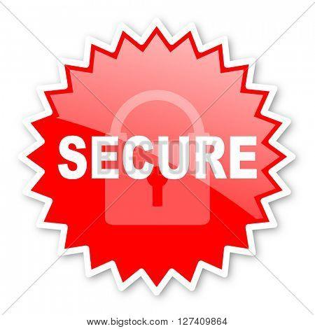 secure red tag, sticker, label, star, stamp, banner, advertising, badge, emblem, web icon