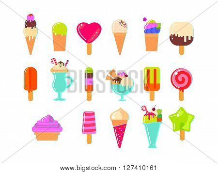 Ice cream and popsicles on white background. Flat vector illustration. All varieties of ice cream.