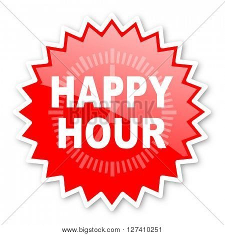 happy hour red tag, sticker, label, star, stamp, banner, advertising, badge, emblem, web icon