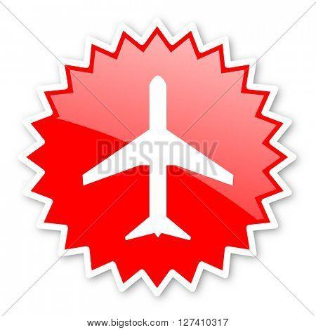 plane red tag, sticker, label, star, stamp, banner, advertising, badge, emblem, web icon
