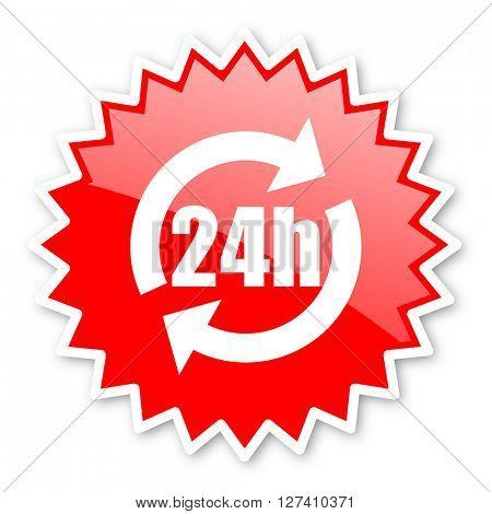 24h red tag, sticker, label, star, stamp, banner, advertising, badge, emblem, web icon