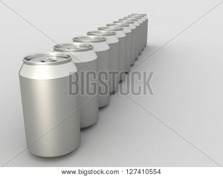 Metal Aluminum Beverage Drink Can Mock up. 3D illustration.
