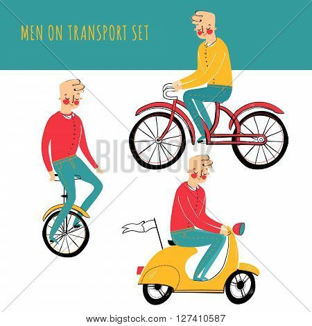 Vector illustration contains set of city traveler in three different situations. On unicycle, on scooter, on bicycle
