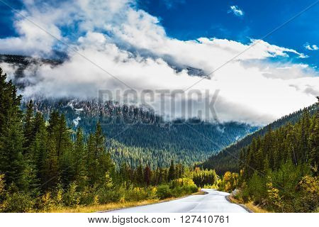 Canadian Rockies. Beautiful September day. Great Highway is among the mountains and forests yellowed