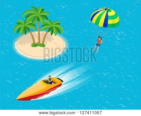 Man parasailing with parachute behind the motor boat. Creative vacation concept. Water Sports. Parachute sailing, Fun in the ocean, Extreme Sport on beach. Flat 3d vector isometric illustration