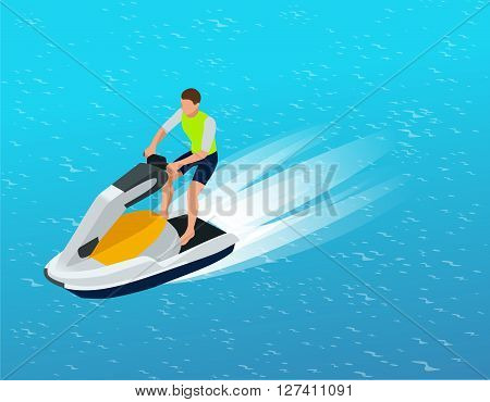 Young Man on Jet Ski, Tropical Ocean. Creative vacation concept. Water Sports.  Fun in the ocean, Extreme Sport, water skiing  flat 3d vector isometric illustration
