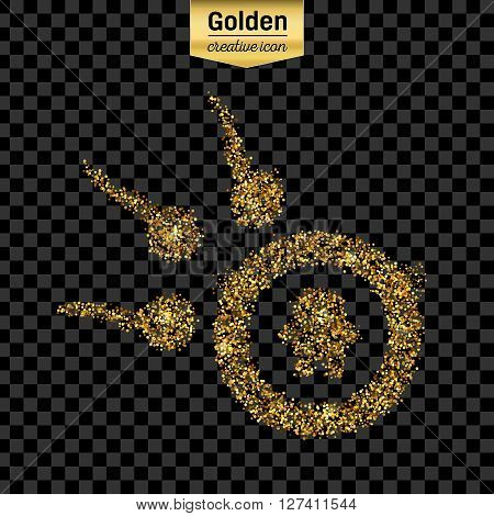 Gold glitter vector icon of spermatozoons, floating to ovule isolated on background. Art creative concept illustration for web,
