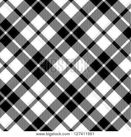 cornish tartan diagonal fabric texture black and white seamless pattern. Vector illustration. EPS 10. No transparency. No gradients.