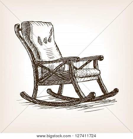 Rocking chair sketch style vector illustration. Old engraving imitation.