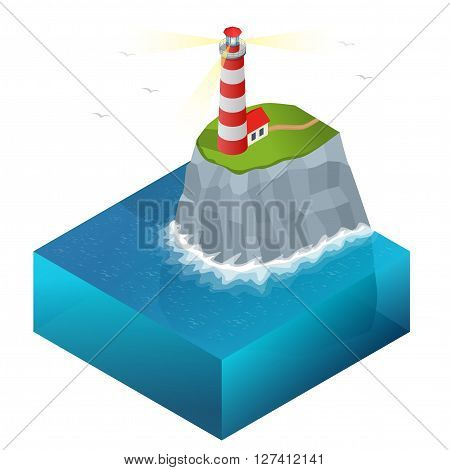 Lighthouse vector isometric illustration. Searchlight towers for maritime navigational guidance