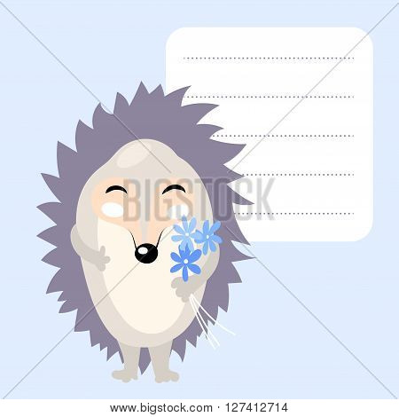 cute cartoon hedgehog with blue flowers and frame for text. Template for school accessories, scrapbook, cards, notebooks, diary, decals