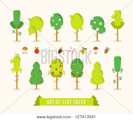 Set of flat different trees. Green trees vector illustration in trendy flat style. Including elements for your design: mushrooms apple orange flowers pinecone