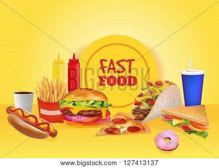 Vector Realistic fast Food Set Composition. Burger PizzaTaco Beverage Coffee French Fries Hot Dog Sandwich Donut Ketchup Mustard. Yellow background