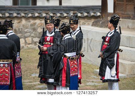 Gyeonggi-do, South Korea - April 22, 2016: Gyeonggi-do, South Korea April 22, 2016 Guards Protect Th