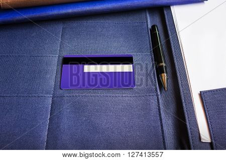 Blnk Signature Area At Back Or Rare Of Credit Card  With Pen And Copy Space