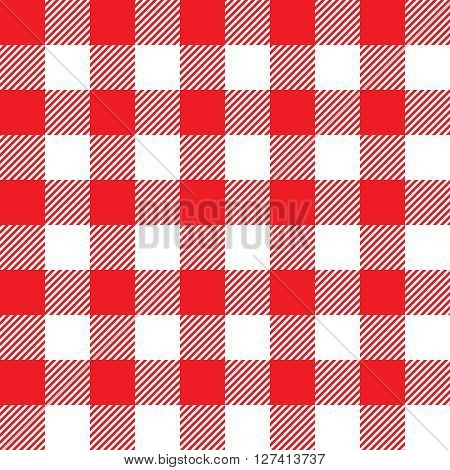 Red tablecloth seamless pattern. Vector illustration of traditional gingham dining cloth with fabric texture. Checkered picnic cooking tablecloth.