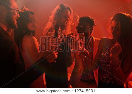 Toasting at disco