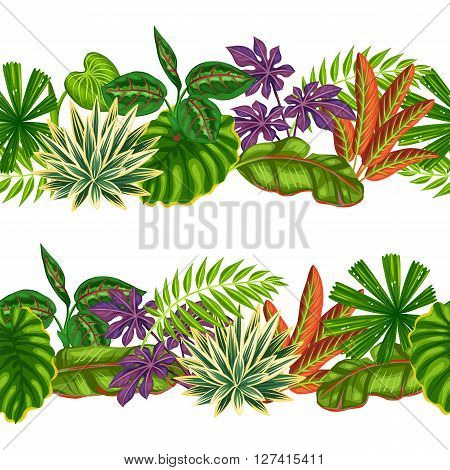Seamless borders with tropical plants and leaves. Background made without clipping mask. Easy to use for backdrop, textile, wrapping paper.