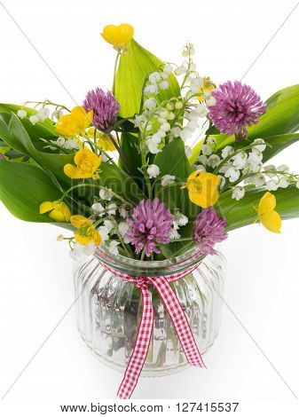 Beautiful Bouquet Of Bright Wildflowers And Lilly Of The Valley, Isolated On White
