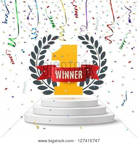 Winner, number one background with red ribbon, olive branch and confetti on round pedestal isolated on white. Poster or brochure template. Vector illustration.