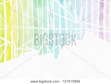Simple horizontal template with handdrawn ink triangles made in freehand style with stripe gradient texture imperfect grainy bright on white watercolor paper illustration for your presentation or design
