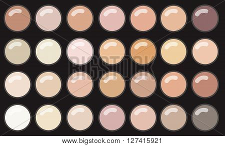 Vector Make Up Palette Eye Shadow On Black background