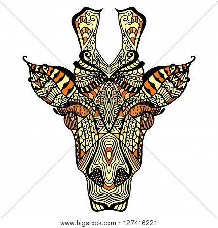 Giraffe. Hand drawn giraffe with ethnic floral doodle pattern. Coloring page zentangle design for spiritual relaxation for adults vector illustration isolated on white background. Zen doodles