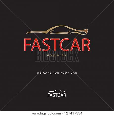GOLD & RED , DYNAMIC LUXURY DESIGN OF A CAR ICON / LOGO