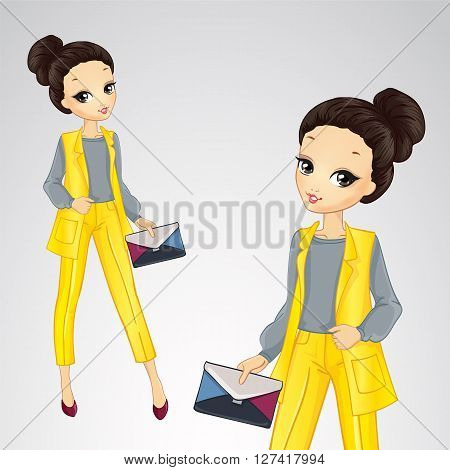 Vector illustration of beautiful brunette girl in bisness style yellow suit