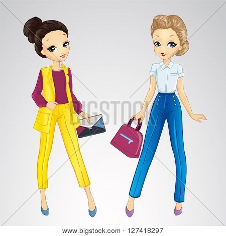 Vector illustration of two beautiful fashion girls dresssed in bisness style