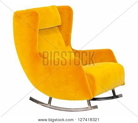 Yellow textile rocking chair isolated on white background