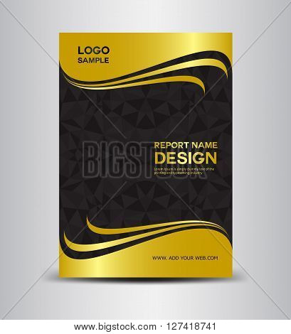 Gold cover design, Gold Annual report template brochure design