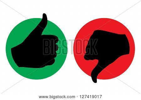 thumb up thumb down icon silhouette vector illustration