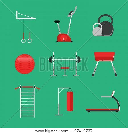 Sport equipment flat icons isolated. Gym training bodybuilding and active lifestyle fitness equipment. Fitness gym sport club vector icons. Sport equipment icons isolated. Athlete and Sport