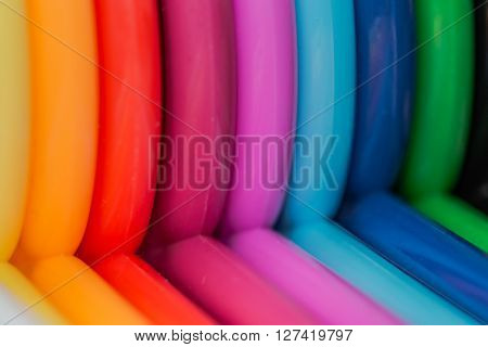 Close up of colorful hangers in rainbow colors