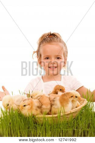Happy Spring Girl With A Basketful Of Little Easter Chicks