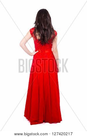 Back View Of Young Beautiful Woman In Red Dress Isolated On White