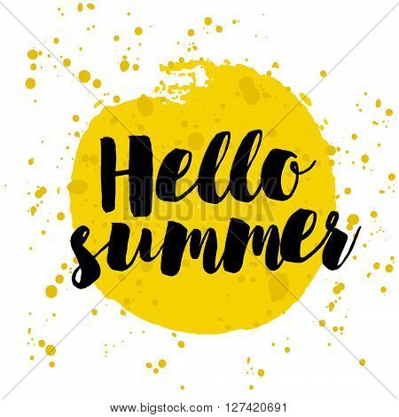 Hello Summer Hand Lettering on watercolor. Summer Time logo Template. Vector Typographic Design Label. Summer Holidays lettering. Summer party Enjoy The Summer tropical sunshine sea beach vacation
