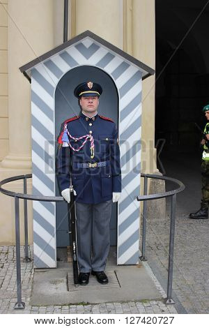 Prague Czech Republic - April 23 2016: The Guard of Honor Guards at the Presidential Palace in Prague castle