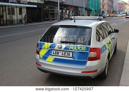 Prague Czech Republic - April 22 2016: Skoda Octavia Police Car Parked on the Street in Prague (rear view) Nobody in vehicles