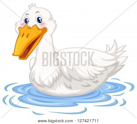 Duck swimming in the pond illustration