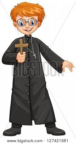 Christian priest holding cross illustration