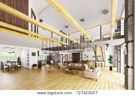Interior Of Modern House 3D Rendering