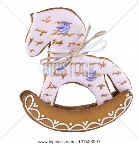 decorated Gingerbread horse isolated on white background